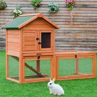 Cages en bois extérieures de poulet de lapin de lapin avec le plateau petite Cage de Hamster de lapin d'animal familier PS6836