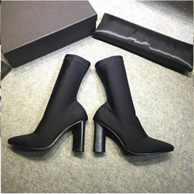 Fashion Stretch Fabric Short Booties Chunky High Heel Shoes Woman Pointed Toe Ankle Boots Knit Sock Botines Mujer Women Pumps fashion kardashian ankle elastic sock boots chunky high heels stretch women autumn sexy booties pointed toe women pumps botas