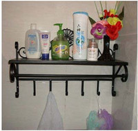 wrought iron wall hanging shelf Bathroom cleaning towel rack