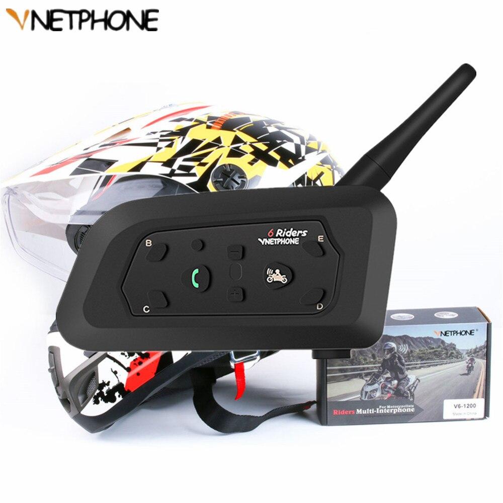 Multi-function V6 Motorcycle Helmet Intercom 1200M Bluetooth Helmet Headset For 6 Riders Wireless Intercomunicador Moto PM3 GPS