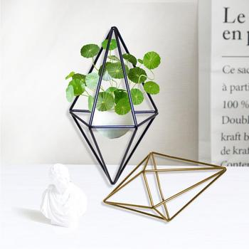 Terrarium Box Moss Fern Flower Pot Decor Freestanding Wall Hanging Geometric Metal Pot Rack Tillandsia Flower Plant Pot