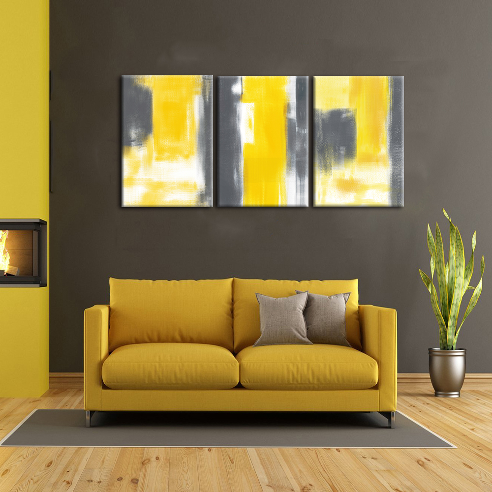 3 Panel Abstract yellow Poster Scandinavian Canvas Painting For ...