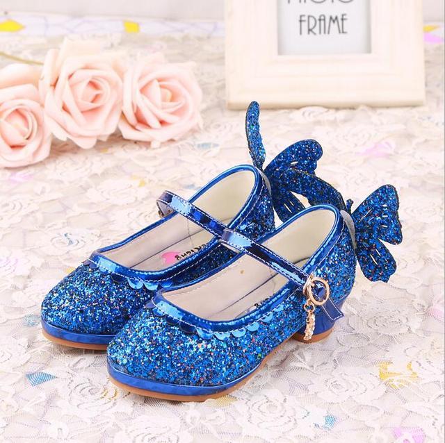Top qualidade buterfly menina das crianças menina princesa bling shoes couro único shoes moda dança high-salto alto 26-38 999-19