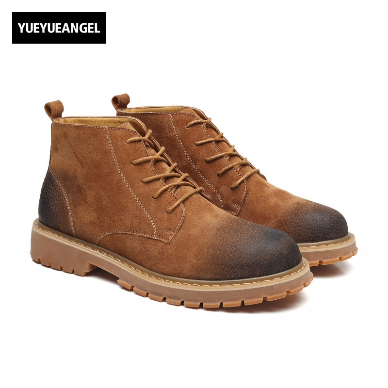 Winter New Fashion Lace Up Retro Low Heel Mens Ankle Boots Male Shoes Round Toe Zapatillas Hombre Lacets Chaussures Ayakkabi fashion pointed toe lace up mens shoes western cowboy boots big yards 46 metal decoration