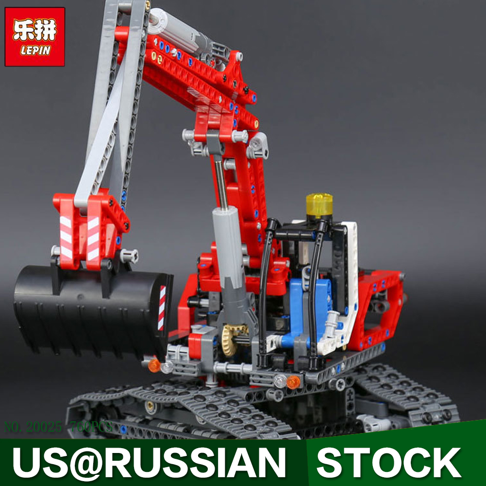 Lepin 20025 760Pcs Genuine Technic Series The Red Excavator Set Children Educational Building Blocks Bricks Boys Toys Model 8294 lepin 20025 760pcs technic series red excavator building blocks bricks toys for children gift