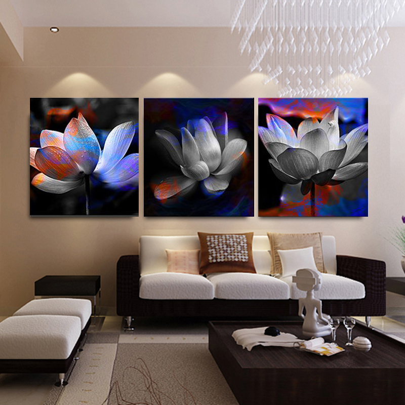 No Frame 3 Panels Modern pictures Lotus Canvas Paintings The Wall Art Cuadros Picture Home Decor for Living Room and Bedroom