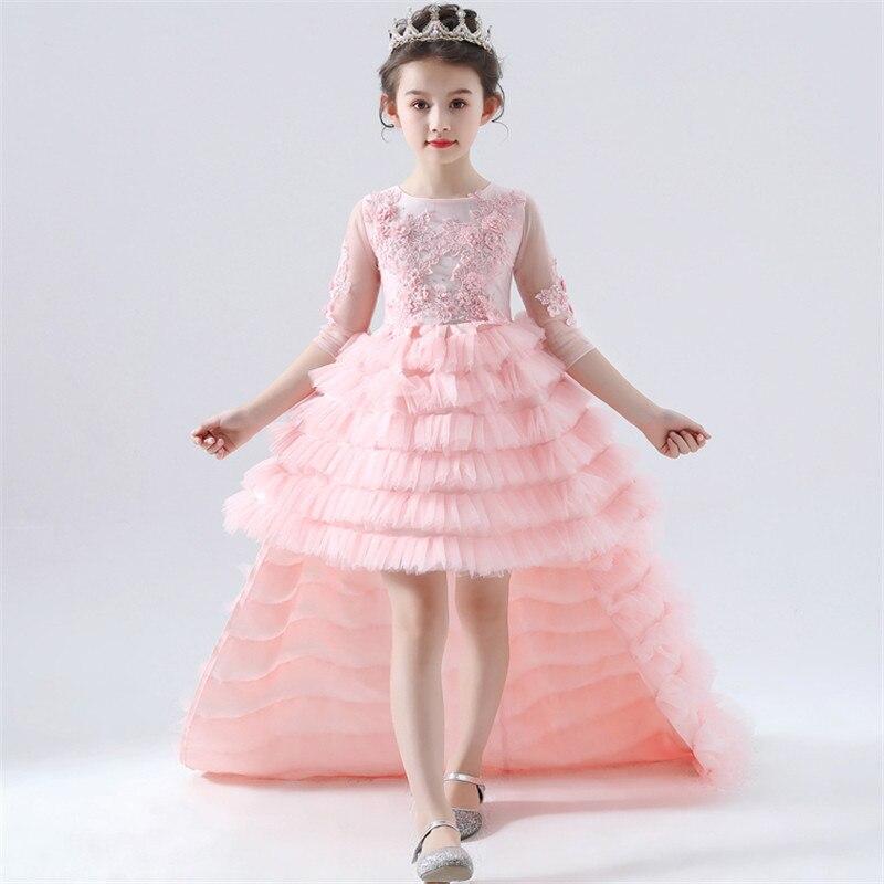 2019 Sweet Fashion Baby Girls Princess Pink Lace Flowers Dress Children Kids Birthday Party Evening Wedding