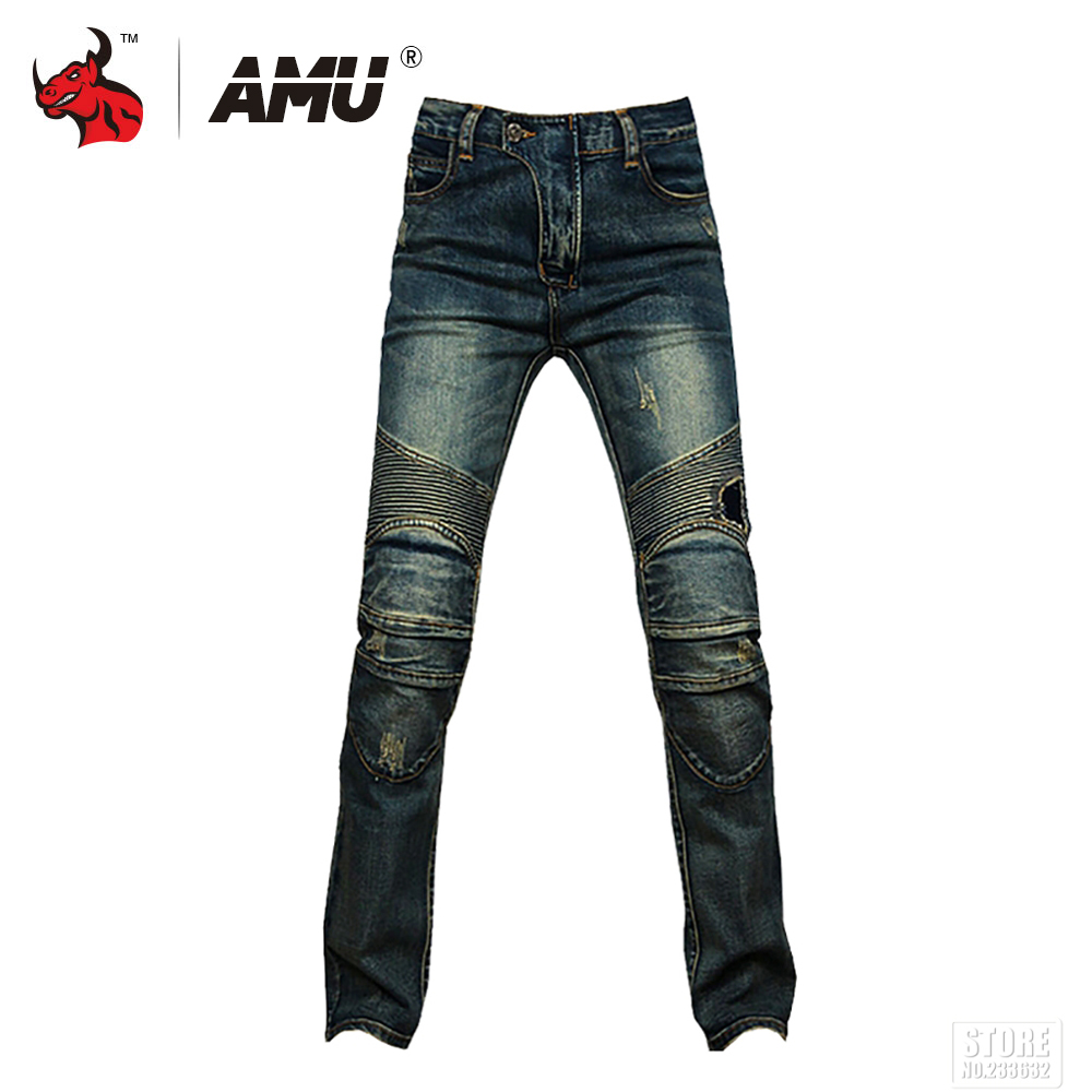 AMU Motorcycle Pants Men Motorcycle Jeans Casual Pants Motorbike Motocross Pants Protective Gear Trousers amu motorcycle jeans camouflage denim biker motorbike racing pants motocross moto pants protective gear with protector