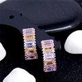 2017 Женская Мода Brinco Ювелирные Изделия 1 Пара 6 Цветов CZ Циркон серебро Яркий Высокого Класса Обруч Серьги