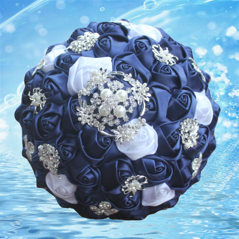 Customized navy White Color Silk Flower Wedding Bouquet Bridal Bouquets Elegant Diamond Bride Bridesmaid Artificial Rose