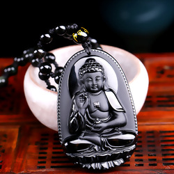 High quality unique natural black obsidian carved buddha lucky amulet pendant necklace for women men pendants.jpg 250x250