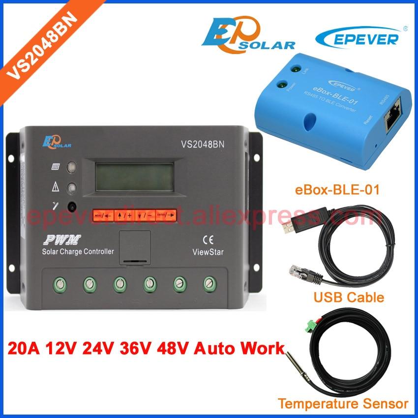 PWM 20A 48 V regolatore di carica della batteria VS2048BN lavoro pannelli solari sistema affidabile adattatore bluetooth e USB e Temp sensorPWM 20A 48 V regolatore di carica della batteria VS2048BN lavoro pannelli solari sistema affidabile adattatore bluetooth e USB e Temp sensor