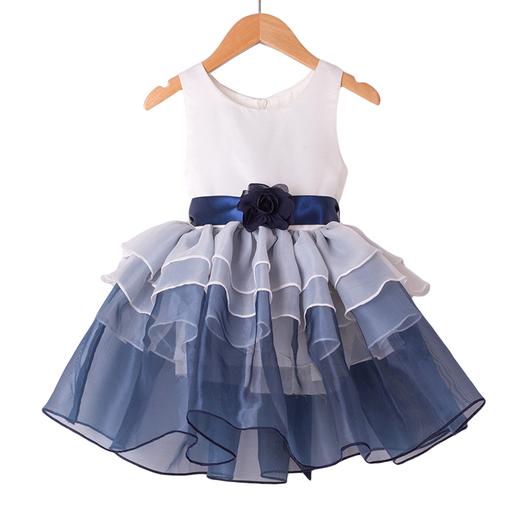 Girls Tutu Dresses Summer 2016 Blue Rose Baby Kids Dance Clothing Leotard Princess Dress Sleeveless Birthday Ball Gown 3-9Y GD91 kids dresses for girls girl dress free shipping2010 fashion dance dress performance wear leotard 085 hair accessory oversleeps