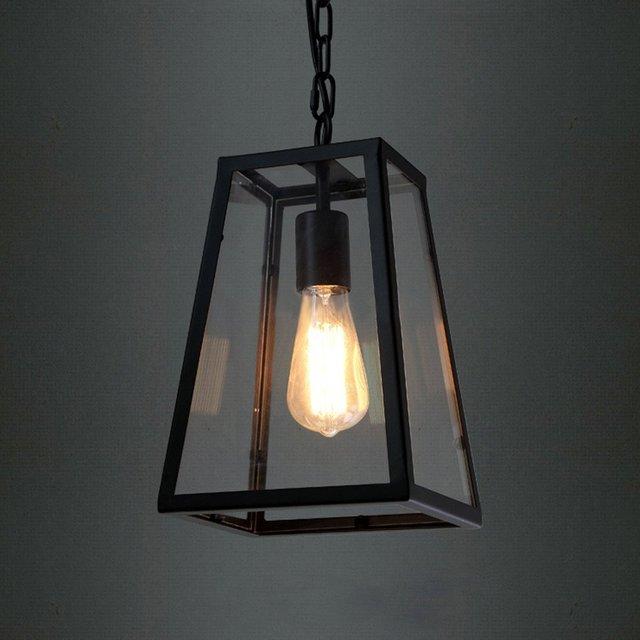 American Village Industrial retro Pendant Lights Edison LED bulb Cafe Restaurant droplight Black wrought iron lamp E27 Lighting