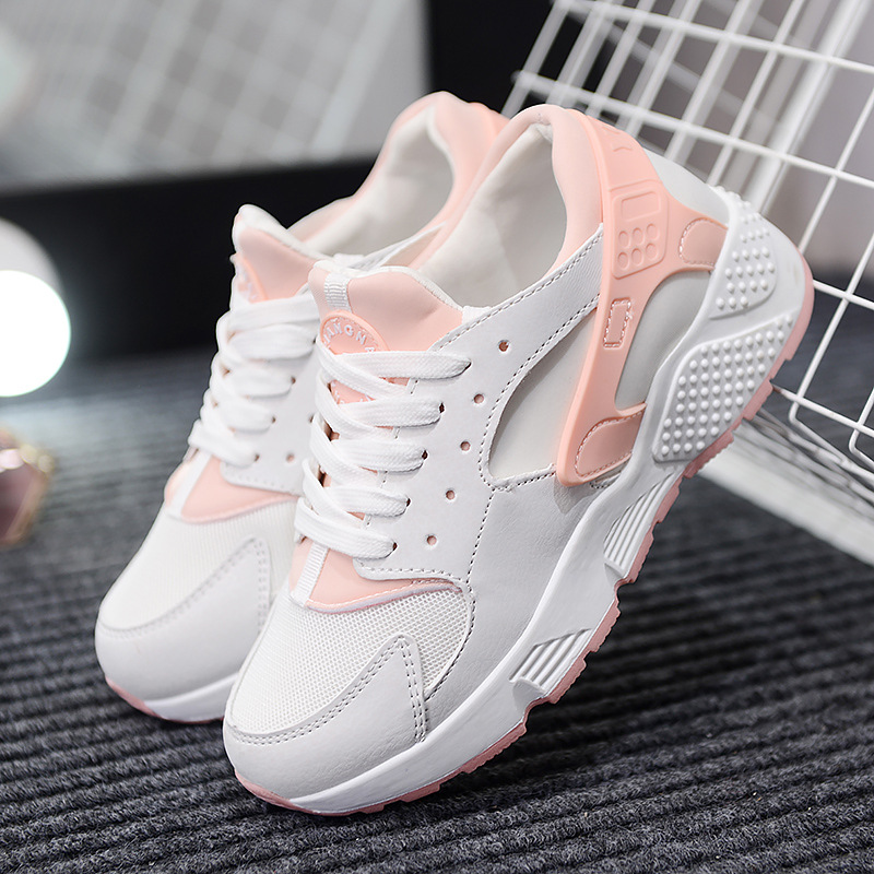 New fashion casual women casual shoes PU breathable sport girls shoes hit color anti skid women