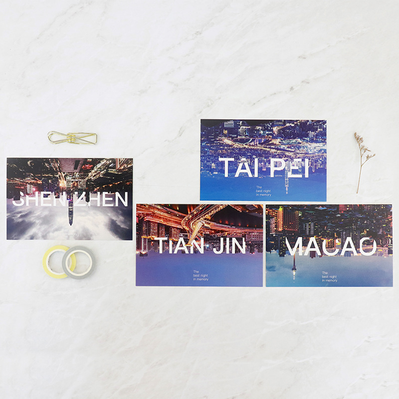 30pcs city in mirror style card multi-use as Scrapbooking party invitation DIY Decoration gift card message card postcard