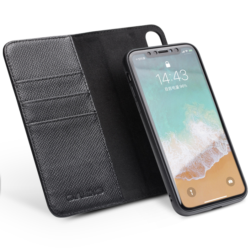 QIALINO Genuine Leather Cover for iPhone X Card Slot Flip Intelligent sleep wakeup Magnetic adsorption Case for iPhoneX 5.8 inc