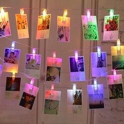 2M 5M 10M LED girlanda żarówkowa karta klips do zdjęć girlanda światła na nowy rok święta bożego narodzenia strona lampa ślubna dekoracja wnętrz w Girlandy świetlne od Lampy i oświetlenie na