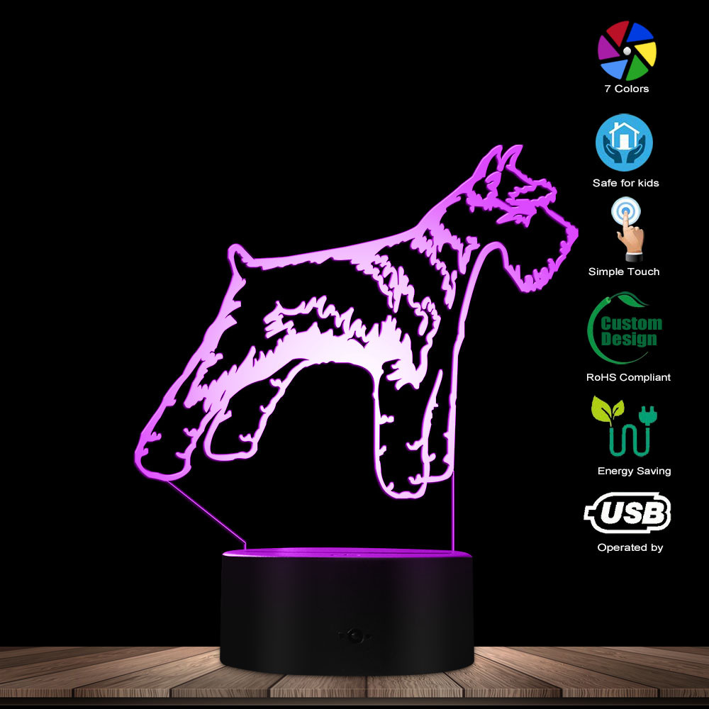 Schnauzer Dog 3D Optical Illusion Night Lamp Pet Puppy Pug Breed Kid Room Decor Night Light Table Lamp Color Changing LED Light