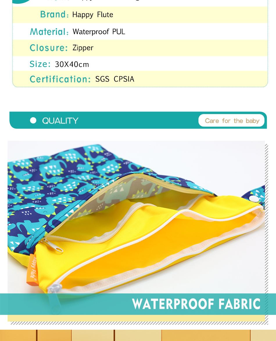 Happy Flute 1 шт. Многоразовые водонепроницаемые модные принты влажная сухая сумка для подгузников двойной карман тканевая Ручка сумки для мокрого плавания 30*40 см