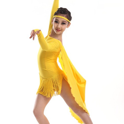Show details for Colorful Cloak Latin Dance Dress For Girls Children Tassel Tango/Rumba/Chacha Dance Competition Costumes Practice Dress