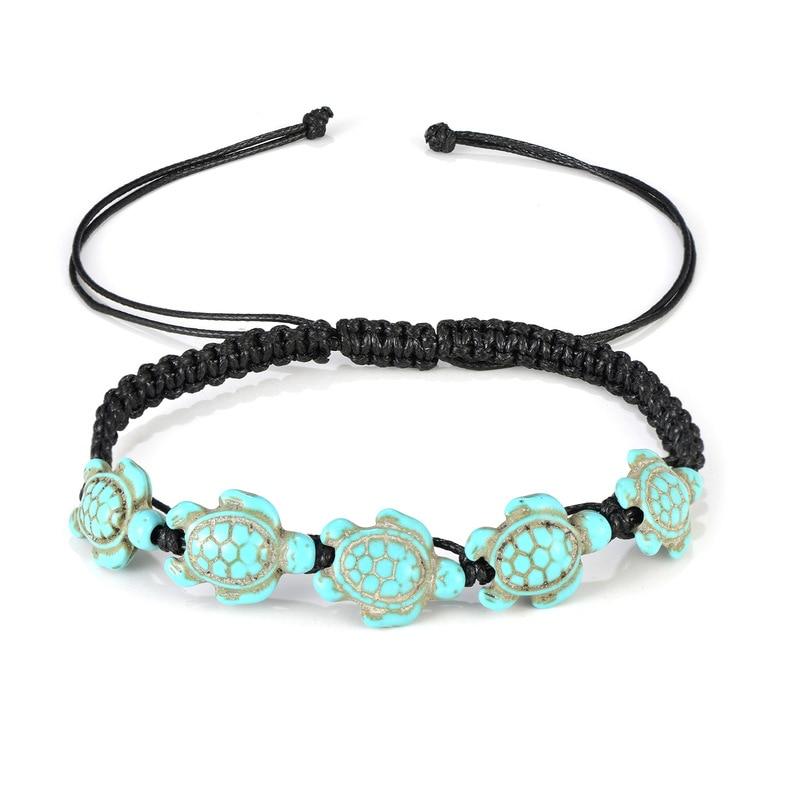 Handwoven Korean Wax Rope Stone Anklets Women Fashion Cute Turtle Pendant Bohemian Beach Anklet Bracelet Jewelry
