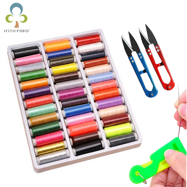 $ US $1.63 39 Colors Polyester Sewing Thread 160-200 Meters/Color Home Sewing Kit for Hand and Machine  Thread to Sew GYH