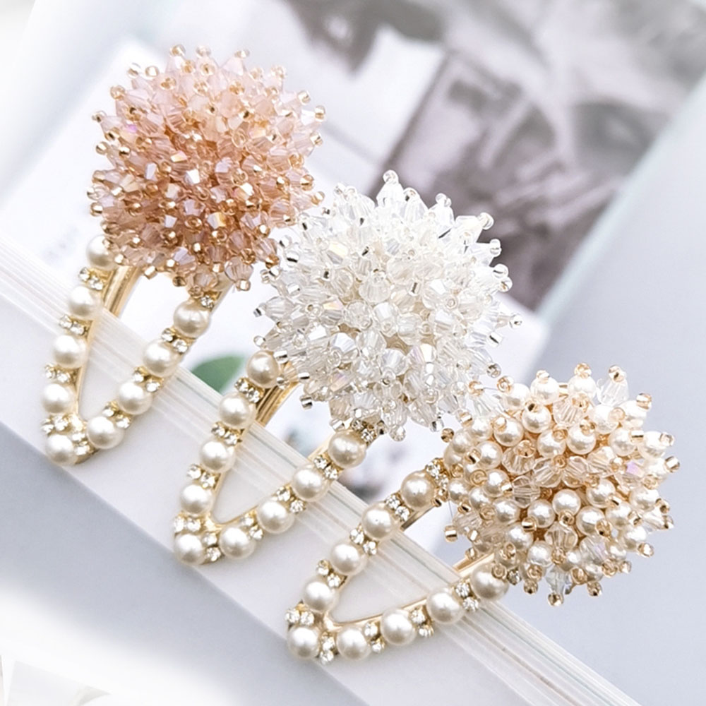 Women Girl Crystal Bow Hair Clip Hairpin Barrette Pearl Hair Accessories FI
