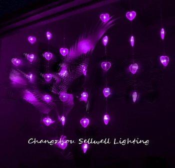 HARIKA! Tatil aydınlatma vitrin kristal perde dekorasyonu 0.95*1.2 m mor kalp boncuk perde lambası H062 (2)