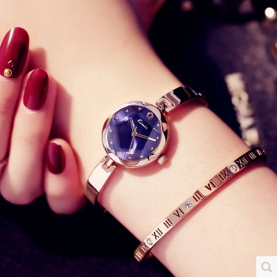 Brand Luxury KIMIO Ladies Clock Small Dial Roman Numerals Scale Bracelet Bangle Watch Strap Woman Watches