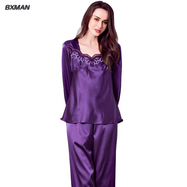BXMAN Marca Mulheres Pijamas de Seda Nova Primavera Nobre Pijama Poliéster Roxo Com Decote Em V Completo Manga Pijamas para As Mulheres 168