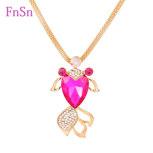 New Fashion Women Fish Necklaces Crystal Gold Colour Zinc Alloy Long Necklace Charms Flash Drilling Necklaces Jewelry Hot sale
