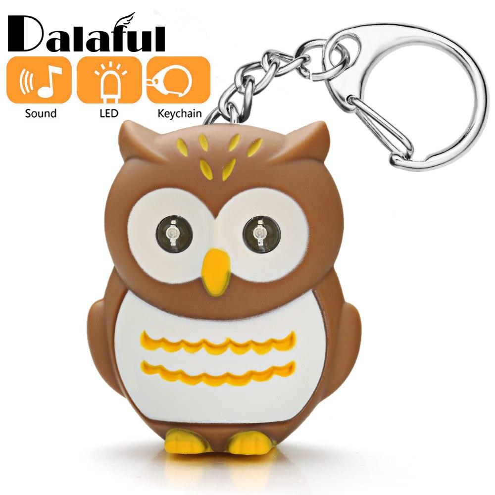 Owl LED Eye Keychain With Sound Christmas Animal Key Chain For Children Creative Child Gifts Toys Mini Flashlight Keyring K392