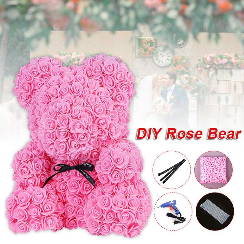 Искусственные цветы розы Медведь собака кролик Мопс юбилей день Святого Валентина подарок на день рождения мать подарок Свадебная вечеринка украшение - Цвет: pink bear DIY Kit