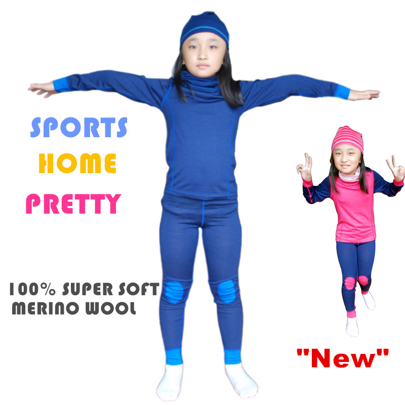 100% Merino wool thermal kids sports underwear set pajamas boys girls children long john super Soft 2015 new arrive super league christmas outfit pajamas for boys kids children suit st 004