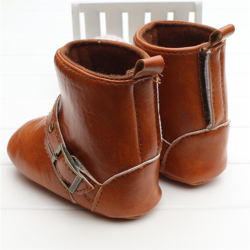 92cc3cd1d4478 Brown Baby Classic Cowboy Boots PU Buckle Soft Soled Baby Girl Winter Boots  Infant Toddler Winter Shoes First Walkers-in First Walkers from Mother & ...
