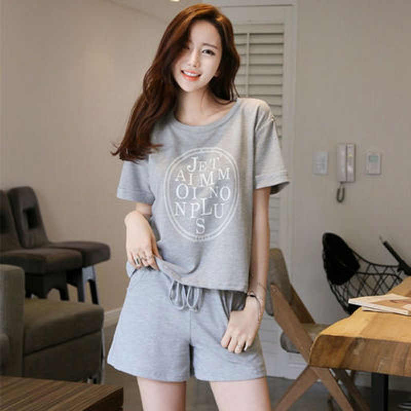 42656546d Summer Ladies Knitted Cotton Pajamas Sets Leisure Women Short Sleeve Shorts  Girls Wear Outside Cute Cartoon