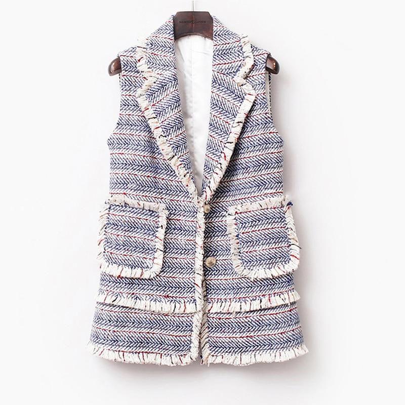 Tweed Printemps Sans Tricoté Manches blanc À Franges Rayé Nouvelles Bleu Bleu De Femmes automne hiver 2019 Veste Dames xqEwBpnI0