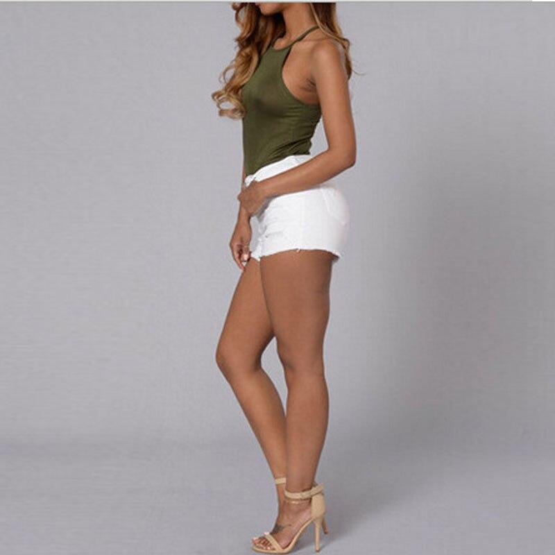 f45832c9182 Bonitos pantalones cortos de mezclilla de verano Blanco Slim Fit rasgados  pantalones cortos de cintura alta Sexy pantalones cortos para mujer lavado  Denim ...