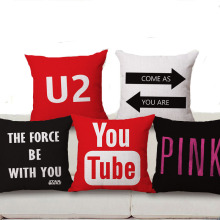 Square 18″ Decorative Throw Pillow Cushion Cover Cotton Linen Letter Youtube Logo U2 The Force Be With You For Sofa Home Decor