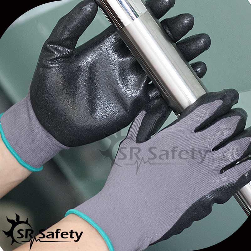 SRSAFETY 12 pairs super thin foam black nitrile gloves/working gloves safety