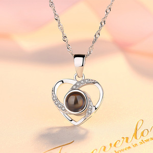 Image 5 - Amxiu Custom 100 Languages I Love You Necklace 925 Silver Clavicular Chain Heart Pendant Necklace Women Jewelry Valentines Gift