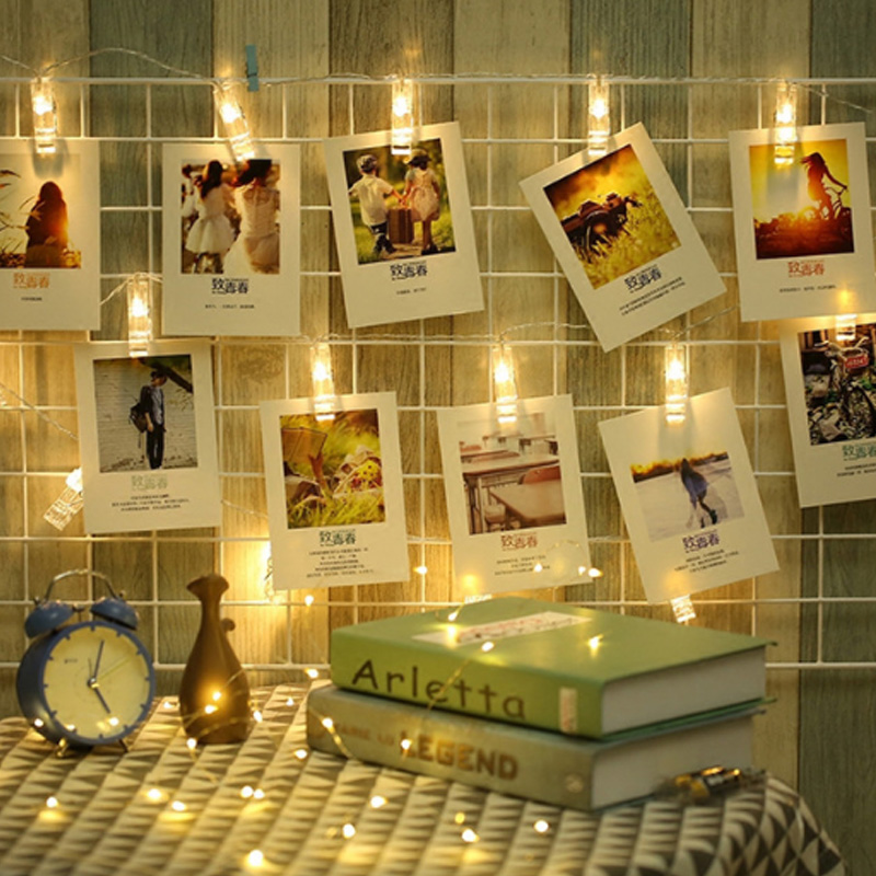 2M LED Card Photo Clip String Lights Colorful Crystal Festival Party Wedding Fairy Lamp Home Decoration Night Lights