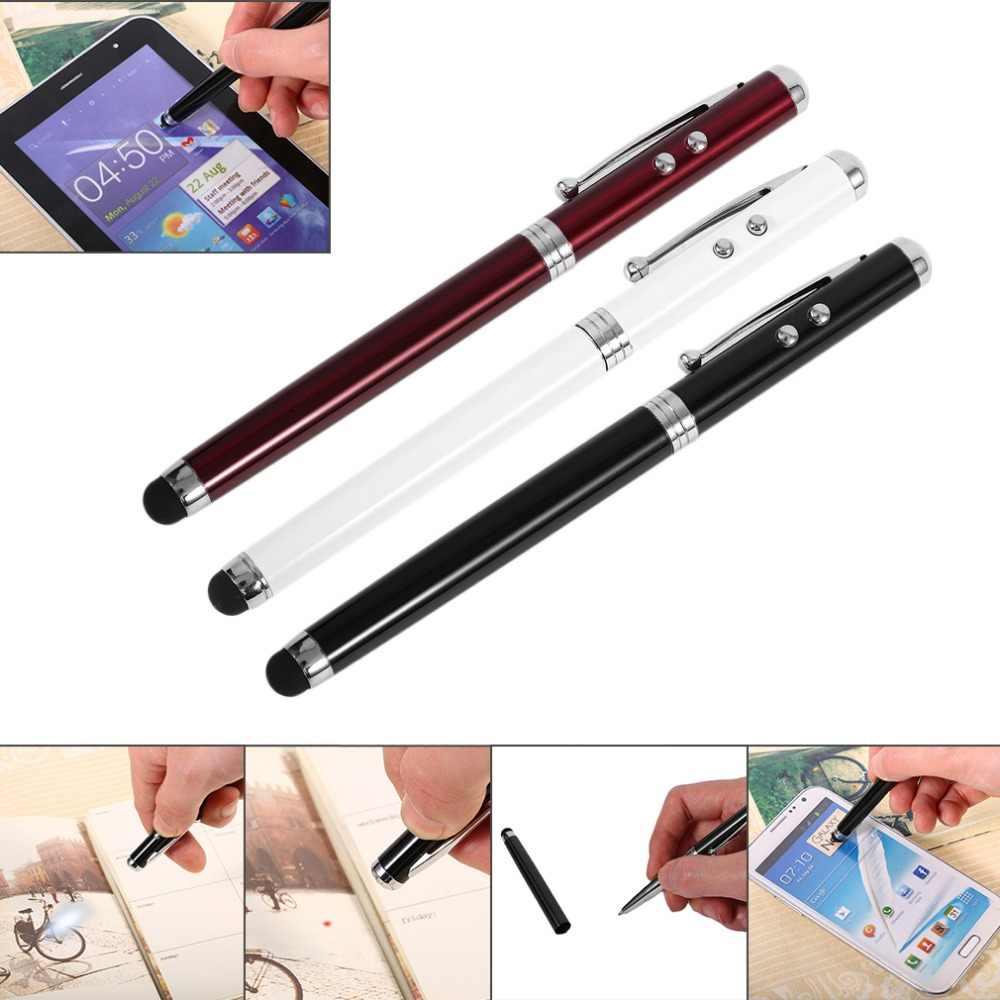 4 в 1 Многофункциональный светодиодный сенсорный экран конденсаторная ручка лазерный Тип Портативная шариковая ручка металл корпус электронная сенсорная ручка