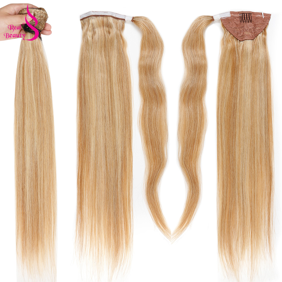 REAL BEAUTY Straight Human Hair Ponytail Wrap Around European Remy Clip In Ponytail Hair Extensions For Women Bleach Blonde