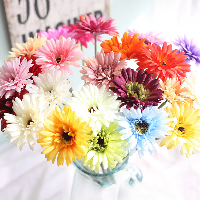 New Sunflower Room adornment <font><b>Gerbera</b></font> African <font><b>Daisy</b></font> Floral Arrangement Artificial High Simulation Home Decoration Fake <font><b>plant</b></font> 1PC image