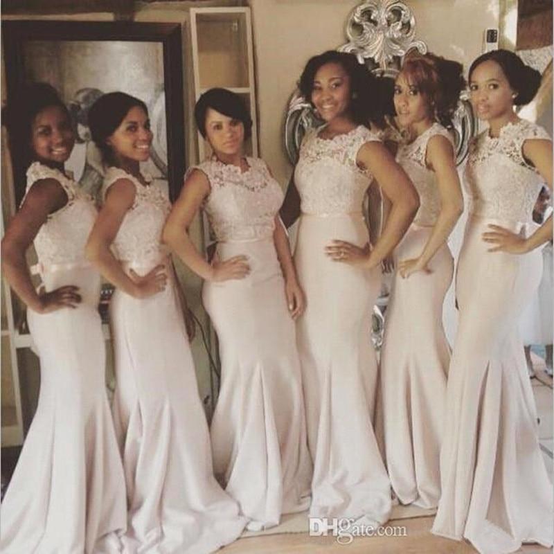 Holievery Lace Satin Mermaid   Bridesmaid     Dresses   with Appliques Floor Length Formal   Dresses   robe demoiselle d'honneur