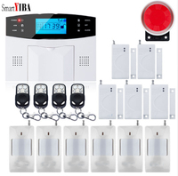 SmartYIBA Wireless Wired GSM SMS Home Security Burglar Alarm Intercom System Smoke Fire Sensor Russian French Spanish Italian