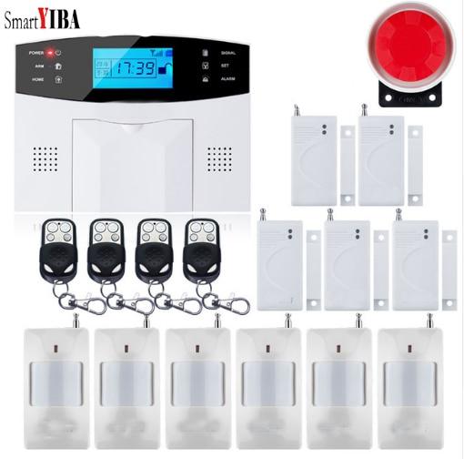 SmartYIBA sans fil filaire GSM SMS sécurité à domicile système d'alarme antivol interphone détecteur d'incendie de fumée russe français espagnol italien