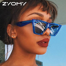 ZYOMY Brand Desinger Vintage Colorful Glasses Reflective Flat Lenses Goggles Men Women Sunglasses Cat Eye Oculos de sol Classic